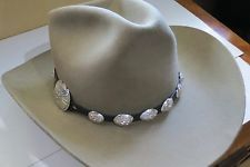 Navajo Silver Concho Hat Band Adjustable Hand Dyed Leather 0044