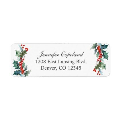 holiday greenery watercolor botanical label christmas cards