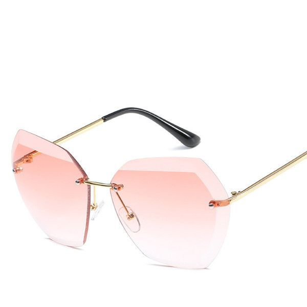 90d2530a2b5 2018 Luxury Sexy Rimless Sunglasses Women Brand Designer Transparent  Gradient Retro Female Sunglass Ladies Sun Glasses
