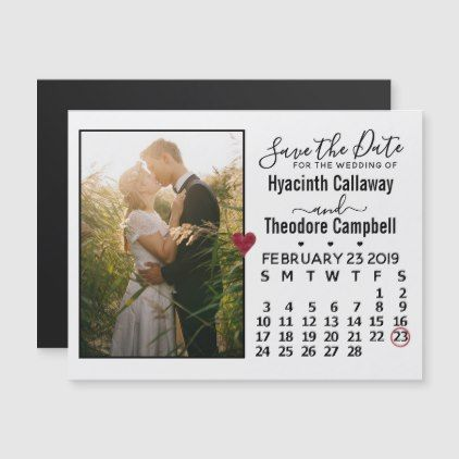 Wedding Save the Date February 2019 Calendar Photo valentines day
