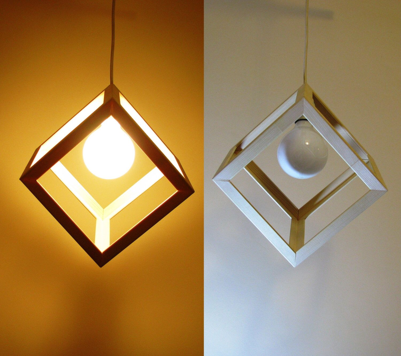 Wooden Cube Pendant Light Hanging Cube Lamp Swag Light Modern