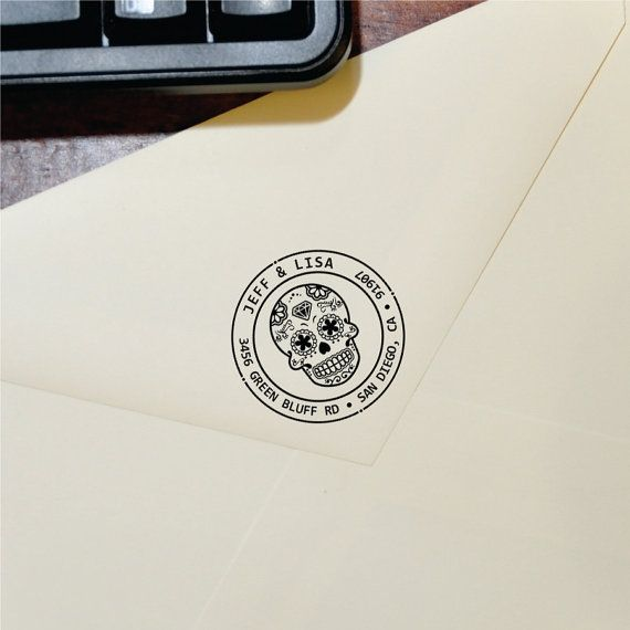 Custom Sugarskull Stamp - Address Round Stamp - Sugar Skull Ink Label - (Sugarskull_007)