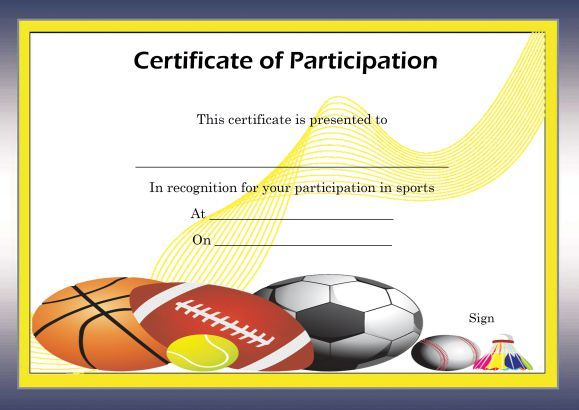 Free Certificate Of Partcipation Template Sports  Certificate Of