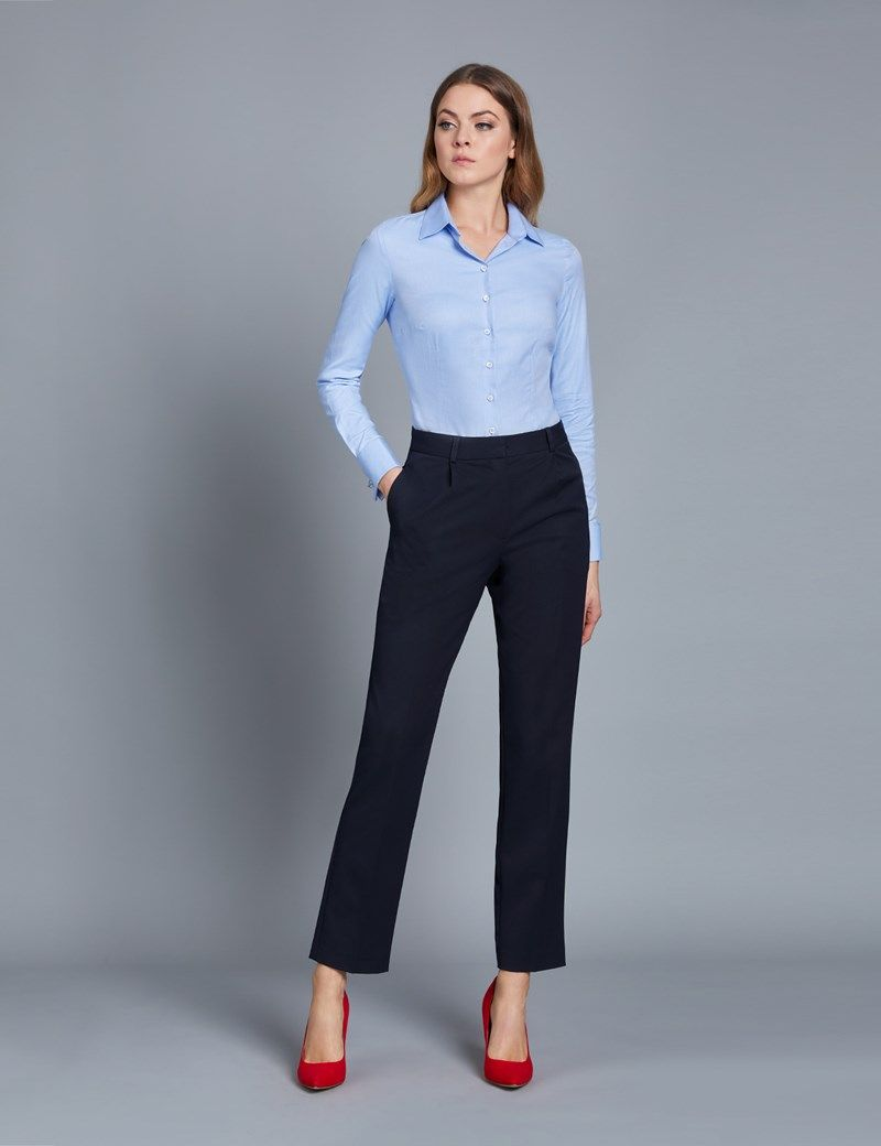 Women's Navy Twill Pants | Work wear women, Business casual outfits for  women, Fashion clothes women