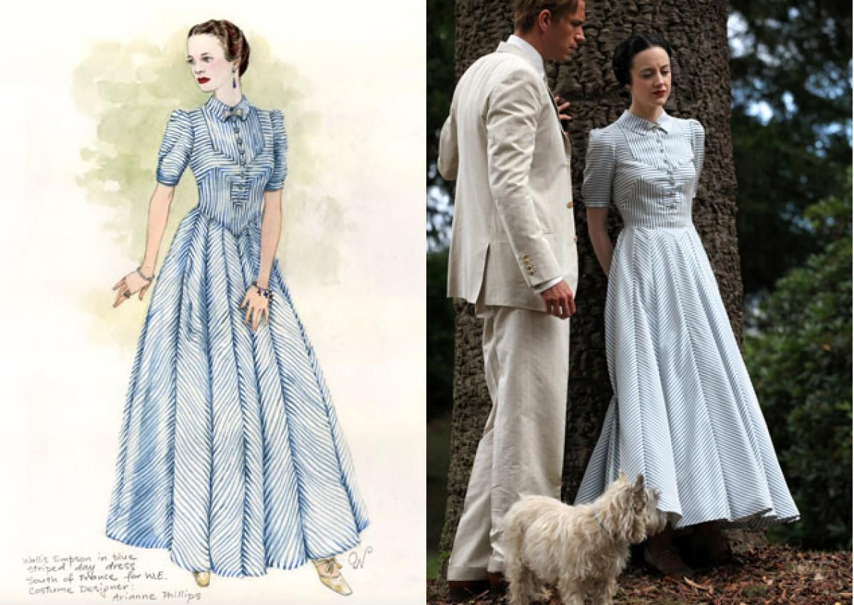 Among those items, Phillips said she very much enjoyed designing and making the blue and white striped silk day dress the Duchess wore in the South of France scenes. The odds of Phillips taking home her first Oscar are hopeful: she has already nabbed the Costume Designers Award for her work on the film.
