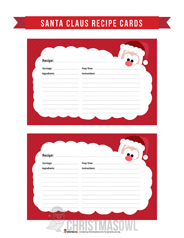 Free printable recipe cards featuring a cute santa claus graphic free printable recipe cards featuring a cute santa claus graphic and a red polka dot border negle Gallery
