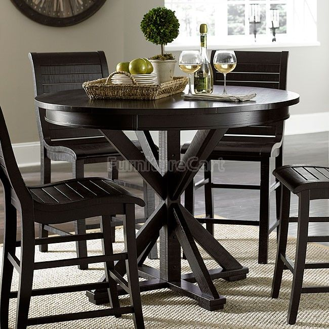 Willow Round Counter Height Table Distressed Black Round Counter Height Table Dining Table Design Dining Table
