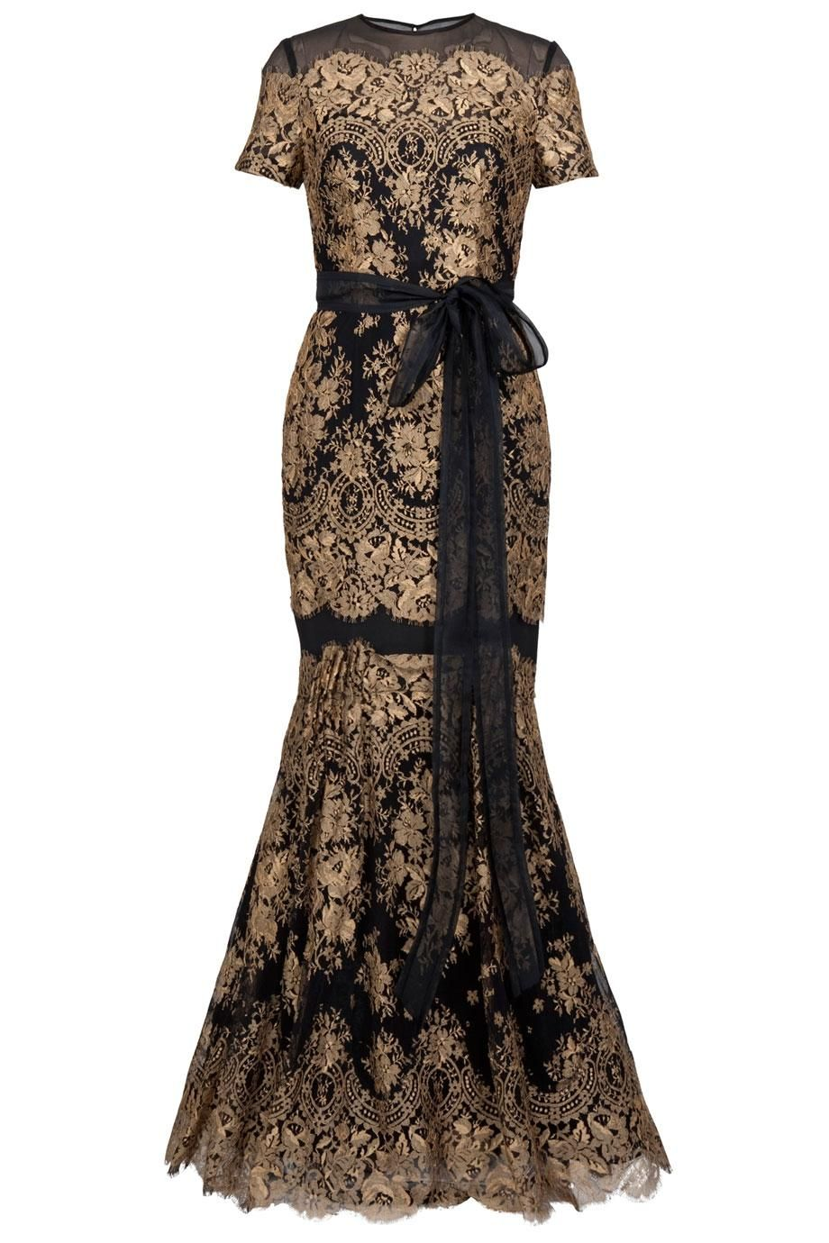Carolina herrera gold lace gown availability in stock