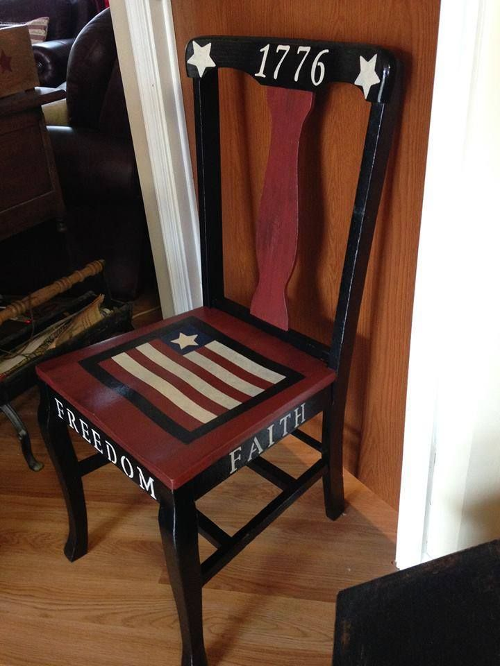 Brilliant Americana Primitive Chair I Painted Countryprimitive Home Interior And Landscaping Oversignezvosmurscom