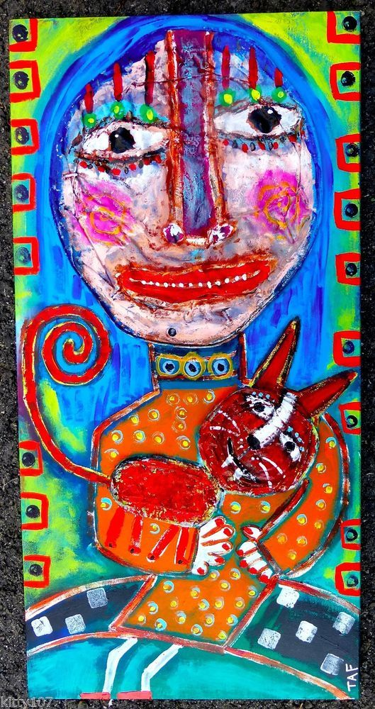 Tracey Ann Finley Original Outsider Raw Brut Folk Painting Lady Red Cat On Lap  #OutsiderArt