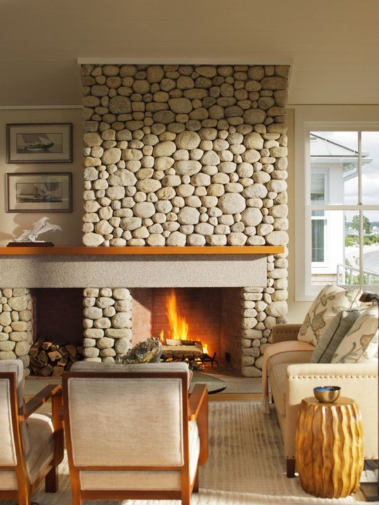 Great Fireplace Design, Adorable Contemporary Living Room With Enchanting Rock  Fireplace And Rock Firewood Storage Also