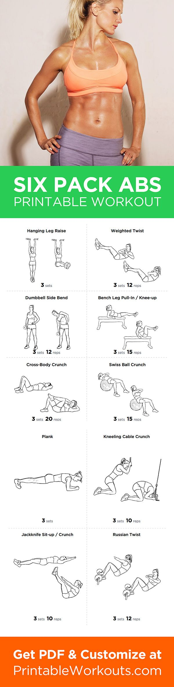 Printable Workout To Customize And Print Six Pack Abs Abdominal Routine For Men Women