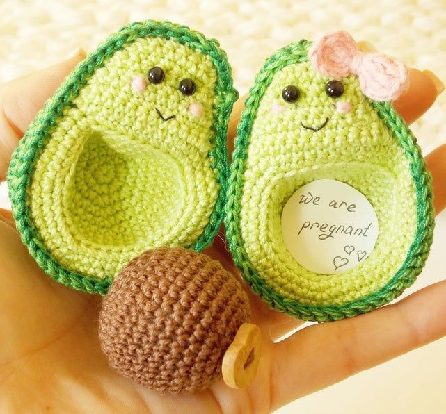 Avocado kawaii - I am pregnant ,Avocado Crochet decoration,lover felt gifts, couples, avocado... Av
