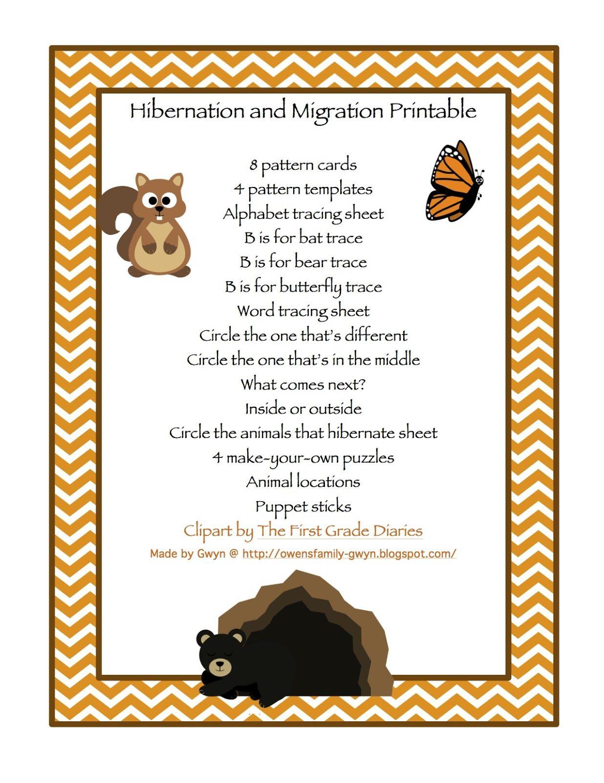 Preschool Printables Hibernation
