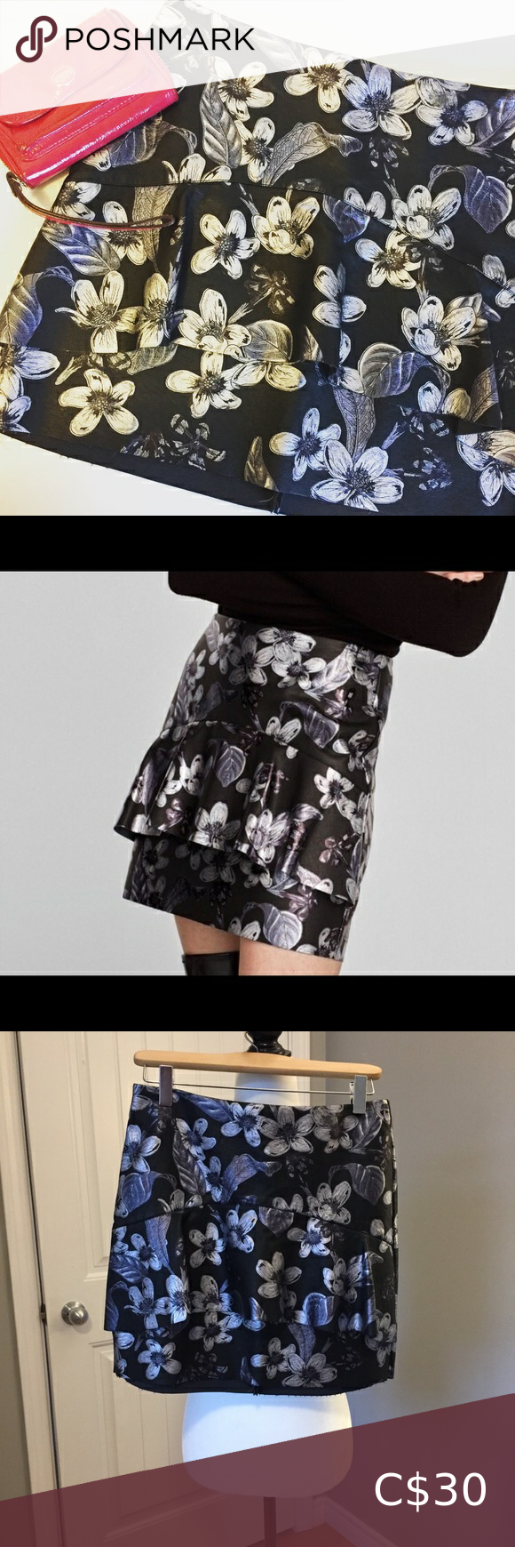Zara Floral Faux Leather Mini Skirt