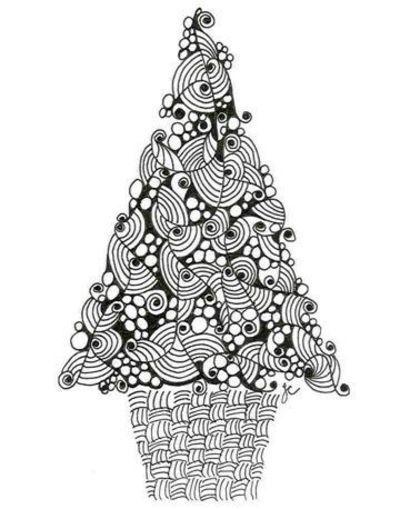christmas zentangles | Christmas tree - zentangle/doodle http://archive.constantcontact.com ...