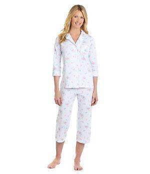 Lauren Ralph Lauren Classic Knit Notch Collar Capri Pajama Set | Dillard's Mobile