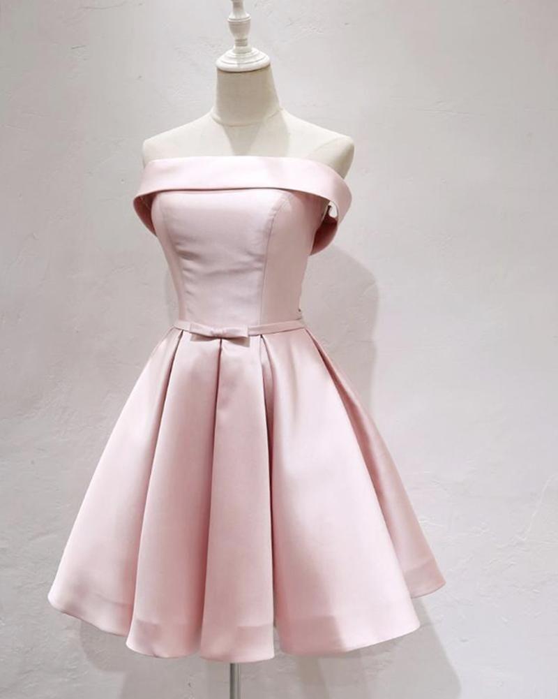 Pink Strapless Short Homecoming Dresses Girls Mini semi Formal