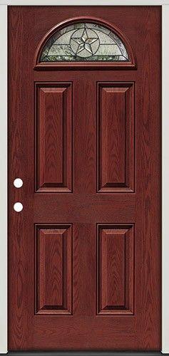 Pre-finished Oak Fiberglass Front Entry Door Star Fan Lite from Door Clearance Center & Texas Star Fan Lite Pre-finished Mahogany Fiberglass Prehung Door ...