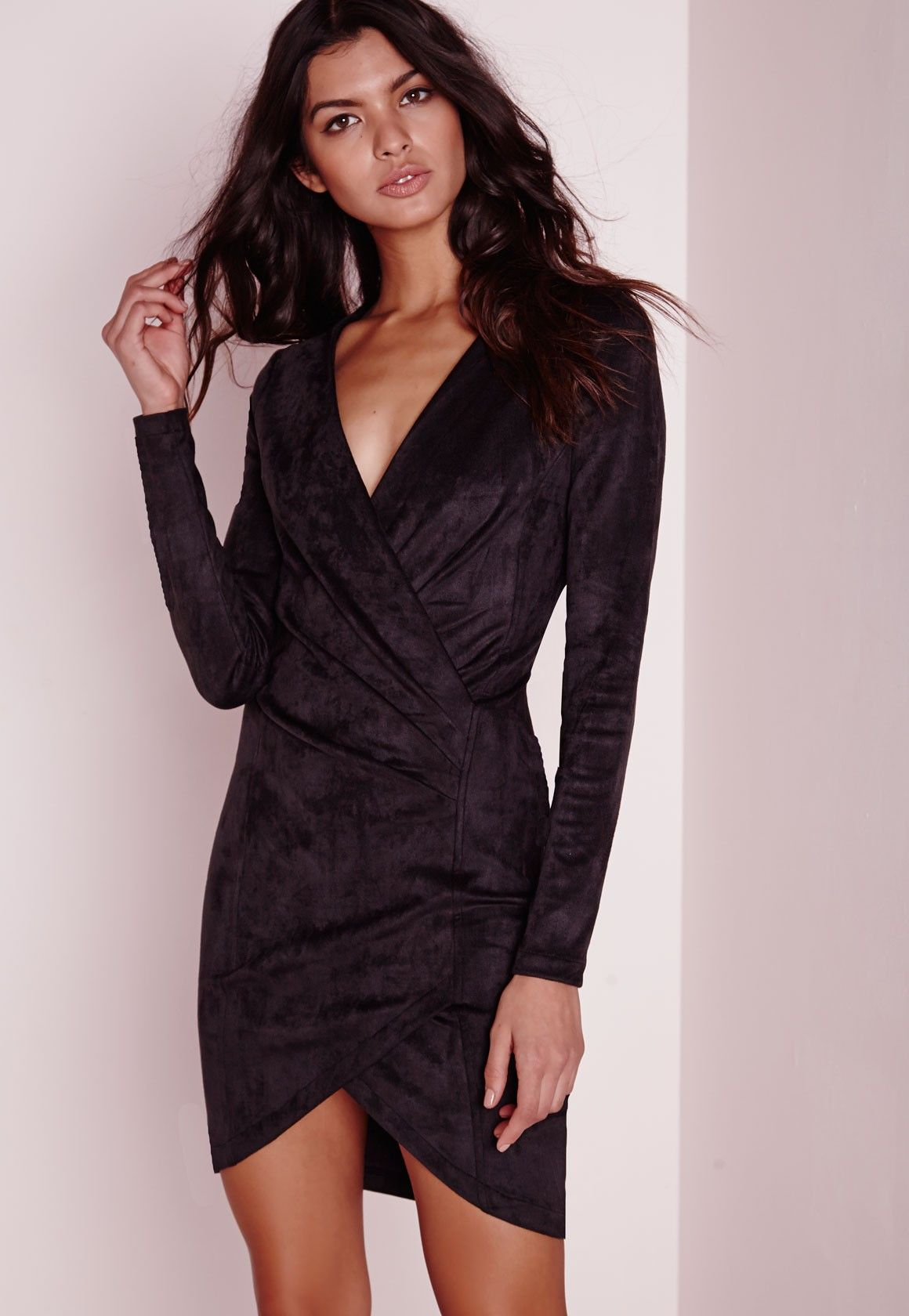 Missguided faux suede long sleeve wrap over dress black my style