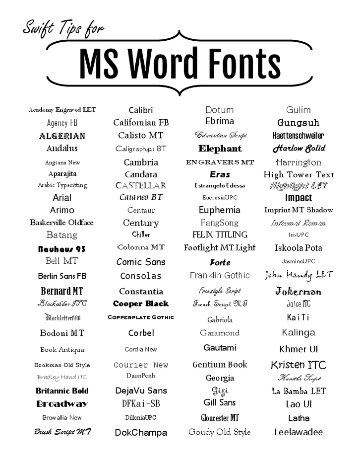 Microsoft Word Fonts