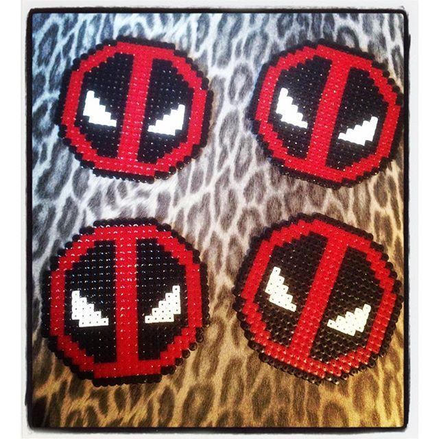 Deadpool coasters hama beads by bibim0n