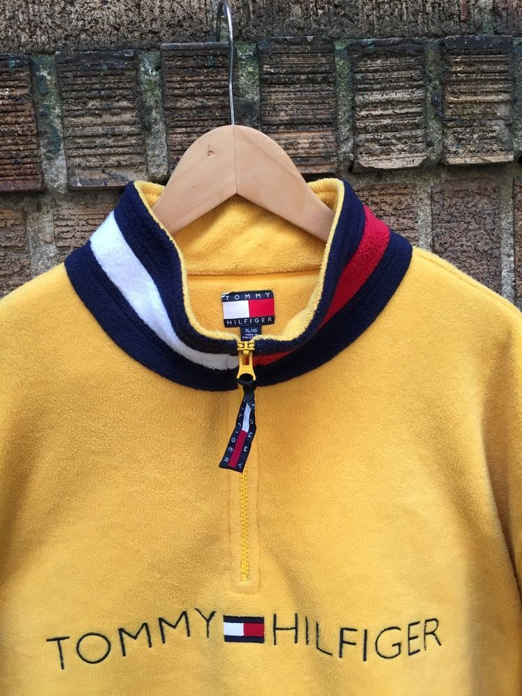 3074004a Vintage Tommy Hilfiger Fleece Jacket 1/2 Zip Pullover Size XL Spell Out Logo  | Clothing, Shoes & Accessories, Men's Clothing, Coats & Jackets | eBay!