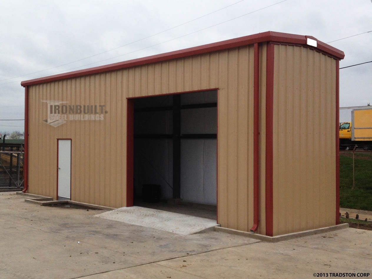 Prefab Small Steel Building Kit with Red Trim Metal