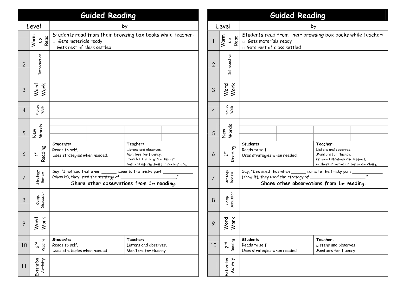 Guided Reading Templates Guided Reading Plan Template Reading Lesson Plans Reading Lesson Plan Template [ 1275 x 1650 Pixel ]