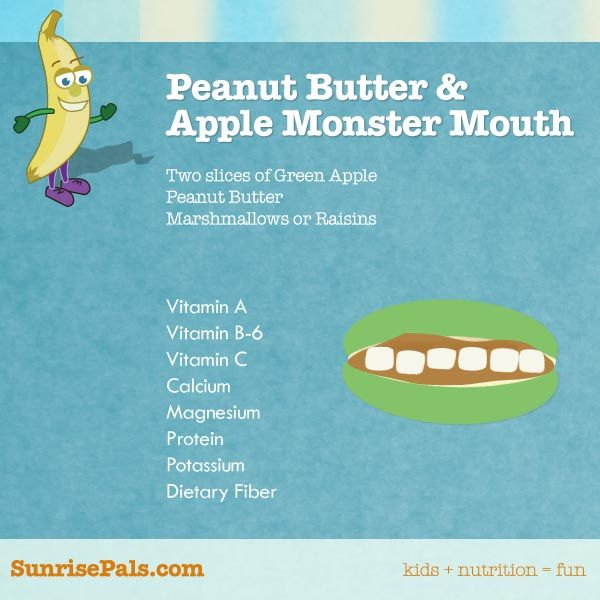 Peanut Butter & Apple Monster Mouth! Perfect for a Halloween snack!