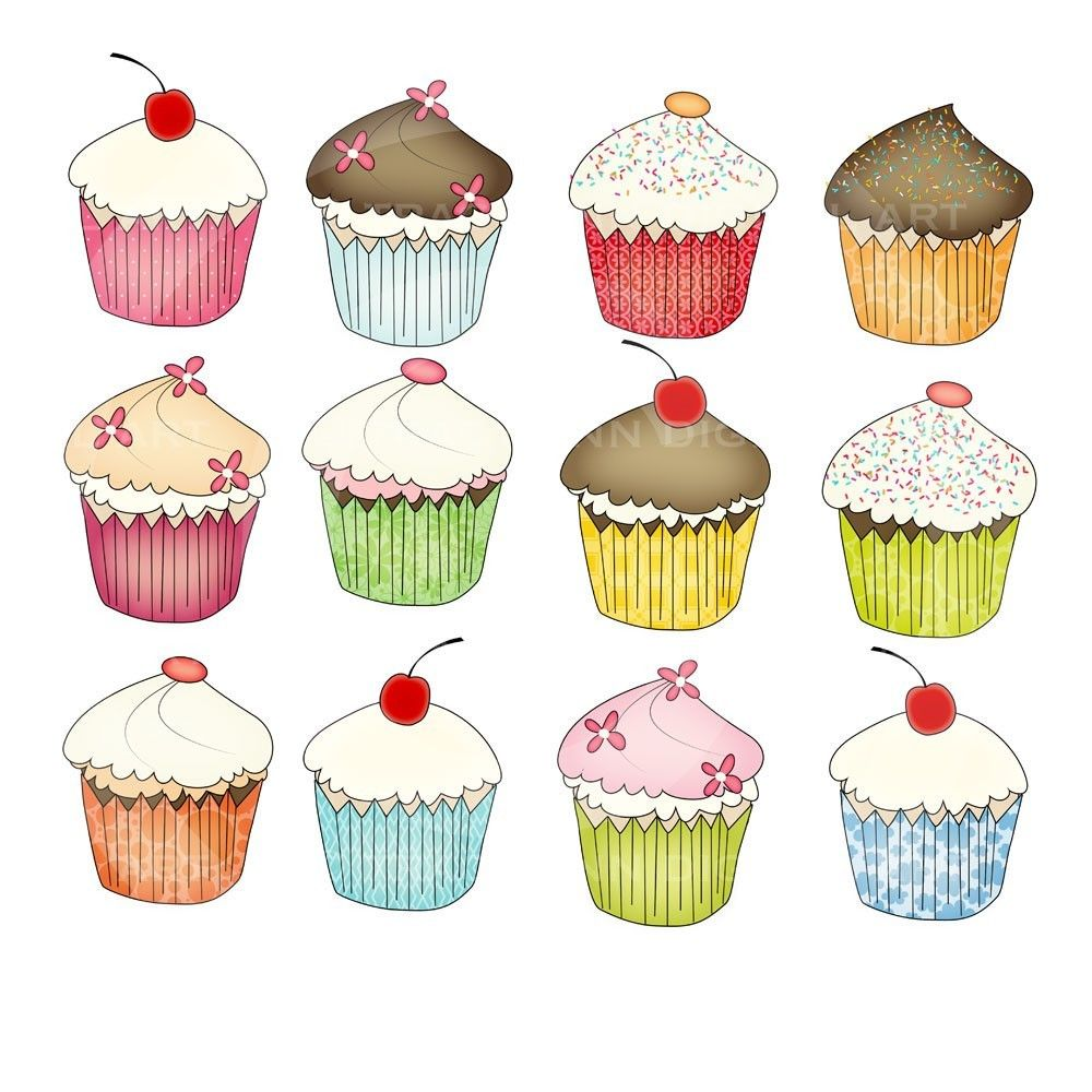 Clip Art Cupcakes For Commercial And Personal Use ...