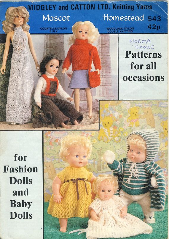 Sindy Barbie Farrah Midgley And Catton 543 Knitting Booklet For