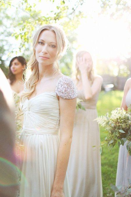 Beaded cap sleeve wedding dress i want to look all for Adding cap sleeves to a wedding dress