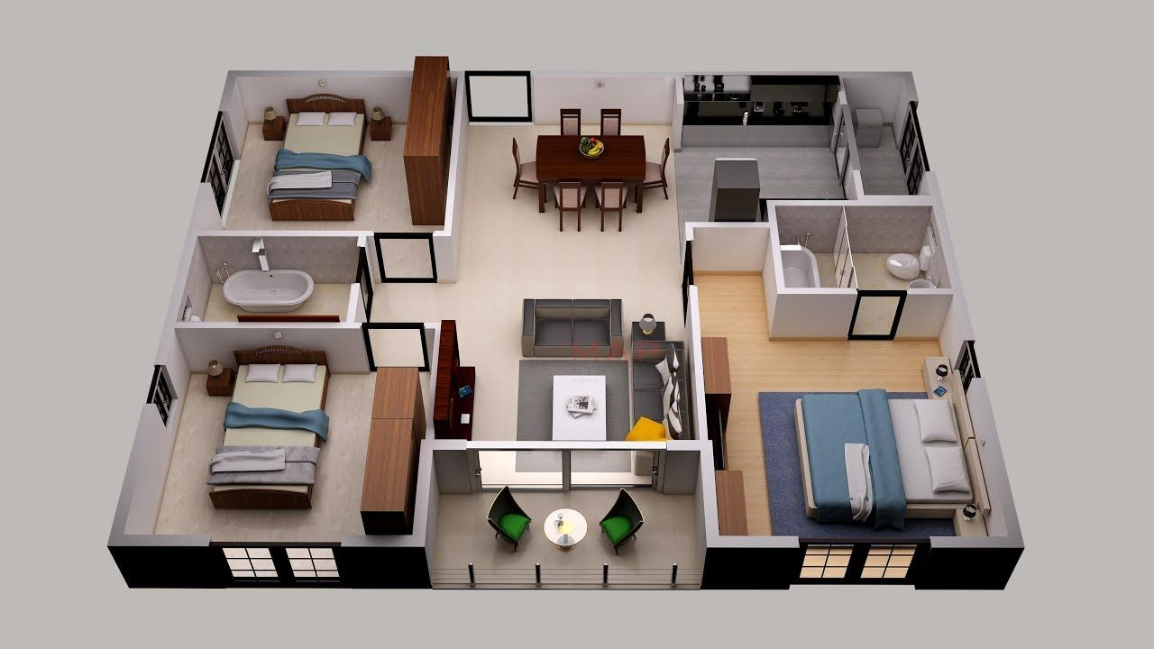 3d Floor Plan Design For Small Area House Plan Design 3 Bedroom And Ot Floor Plan Design Home Design Floor Plans House Floor Plans
