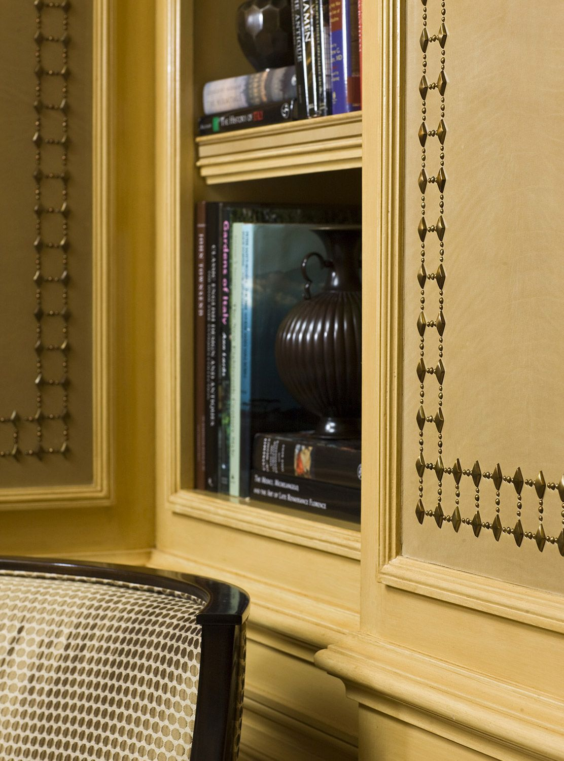 Library with elaborate nailhead detail in wall panels -- Cullman ...