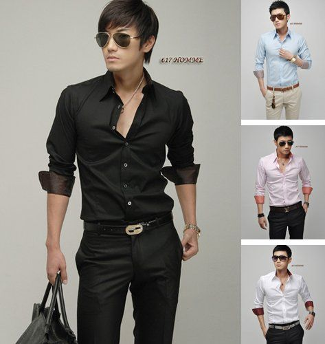 Mens Long Sleeve Shirts Men Business Shirt Mens Dress Clothing ...
