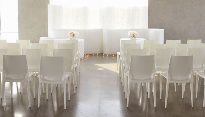White Loft Ceremony   For A Sleek Wedding, Our Glossy White Bellini Chairs  Are The Ideal Match For A Loft Or Gallery Space. Soft Blocks Of Differing  Heights ...