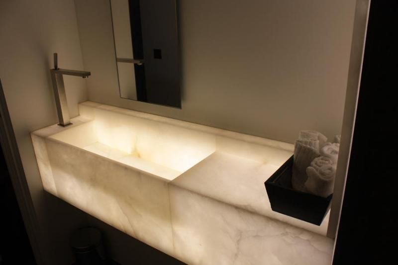 Indoor Alabaster Sinks That Glow From Within.