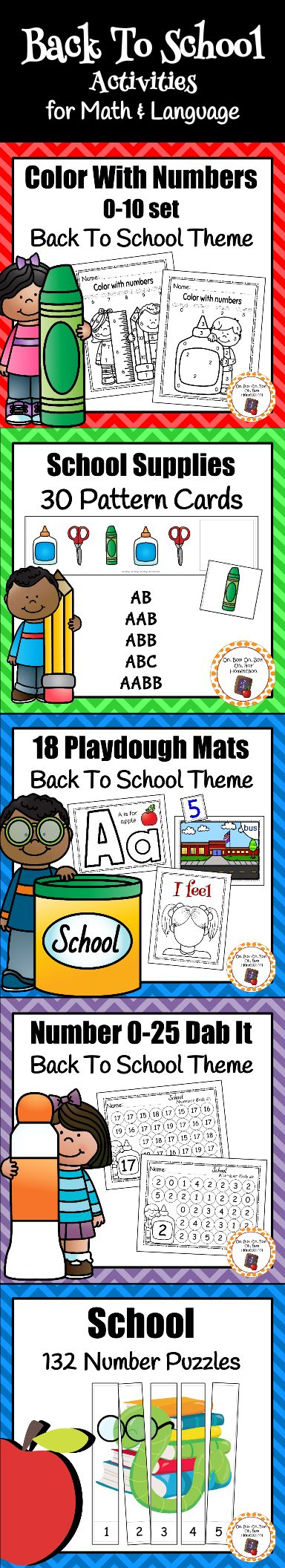 I love these educational back to school activities!  My kids have so much fun LEARNING!  Work on number recognition, patterns, letter recognition, color recognition and more!
