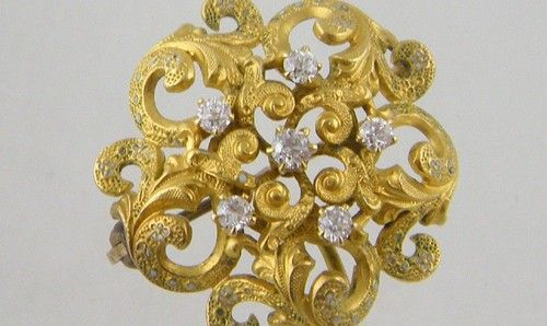 Antique Art Nouveau Renaissance Revival 14 KT Gold Enamel Diamond Brooch Holder | eBay