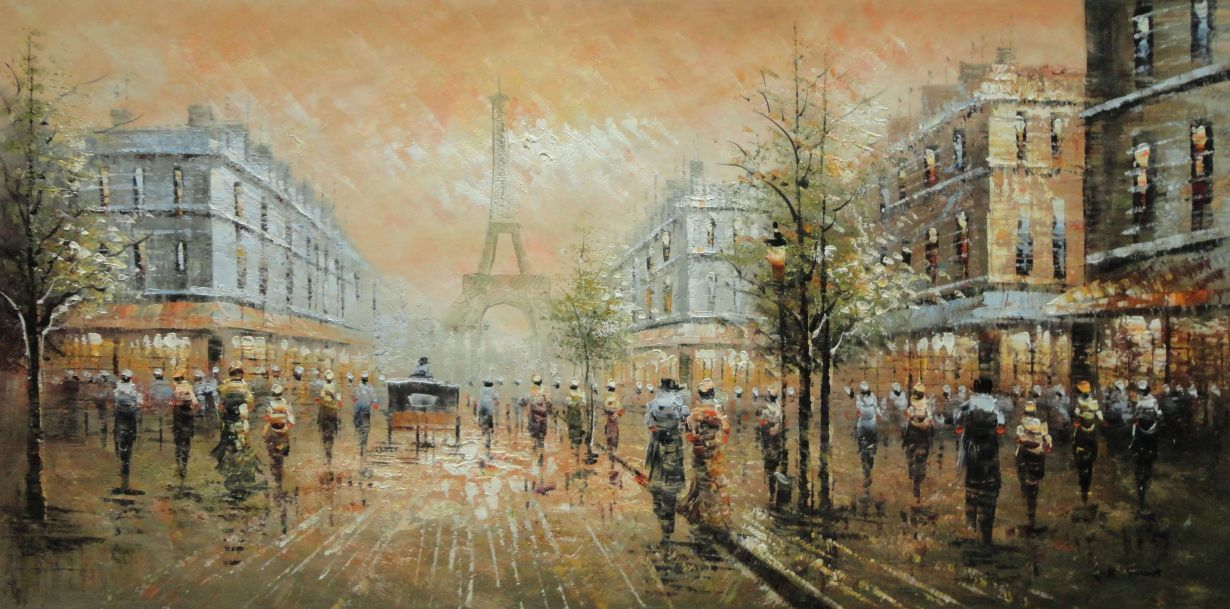 French Cityscape Impressionist Paris Street #11 Black and White Eiffel Tower 20x24 Hand-painted Oil Painting on Canvas Unframed Wall Art