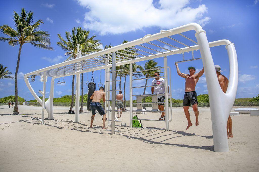 Gym Miami Beach In 2021 Beach Workouts Miami Beach Outdoor Shower Beach