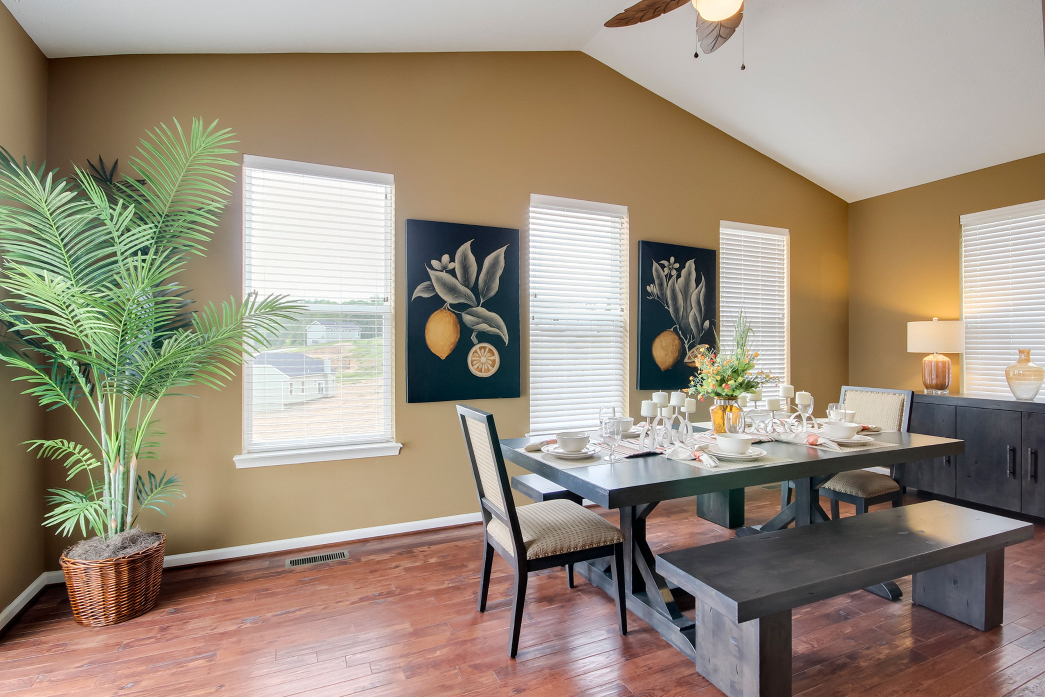Fancy dining room with yellow walls drb homes morgantown wv fancy dining room with yellow walls dzzzfo