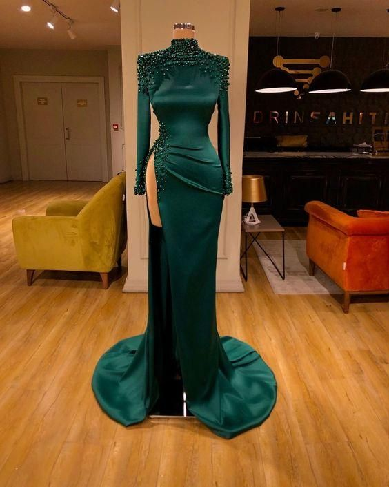 green beaded evening dresses long 2020 high neck mermaid elegant sexy formal dresses
