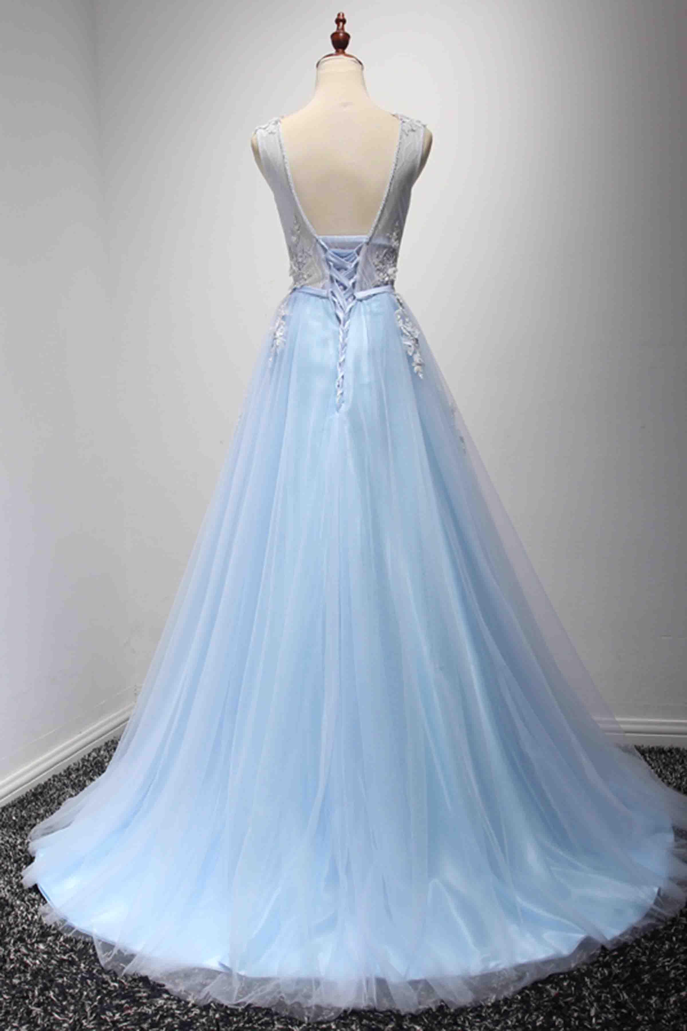960580d4fb Light blue tulle lace applique V neck A-line long prom dresses  promdress