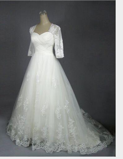 Vintage Lace A-Line Plus Size Wedding Dresses White by Linda3567