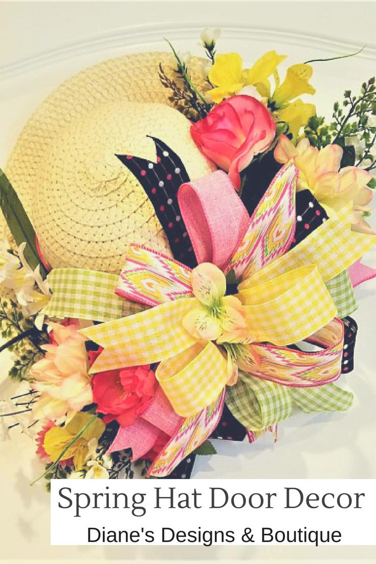 Summer Hat, Wall decor, summer flowers, bow, hat, Diane\'s Designs ...