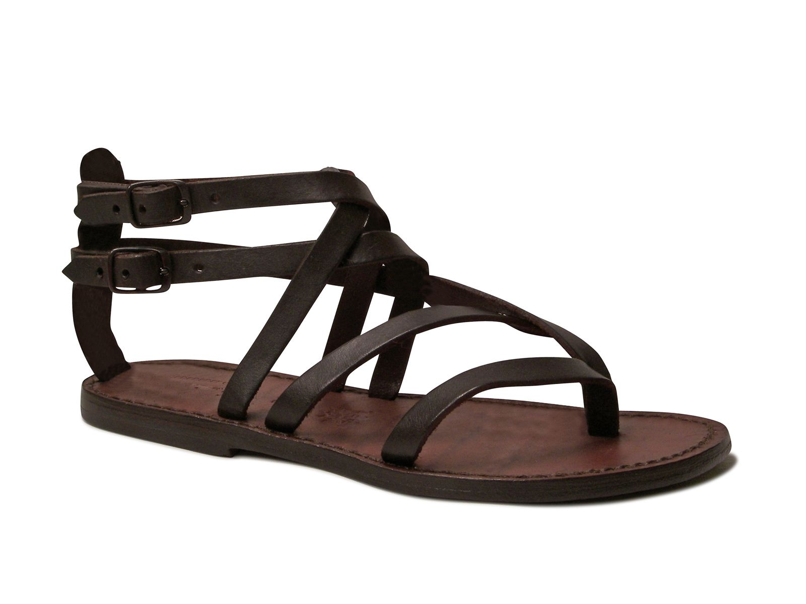 96f4a97092b7ec Handmade womens flat sandals in dark brown leather - Italian Boutique €64