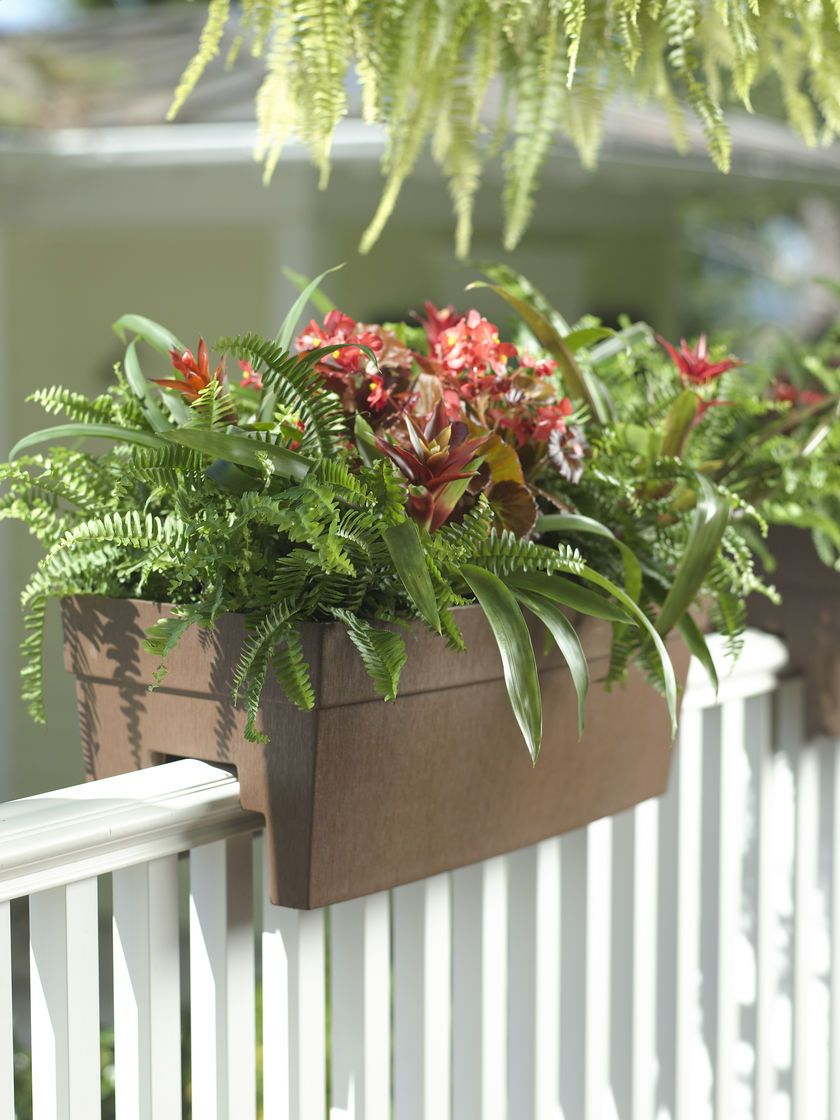 Deck railing planter for 2x4 or 2x6 railings beach house for Garden decking planters
