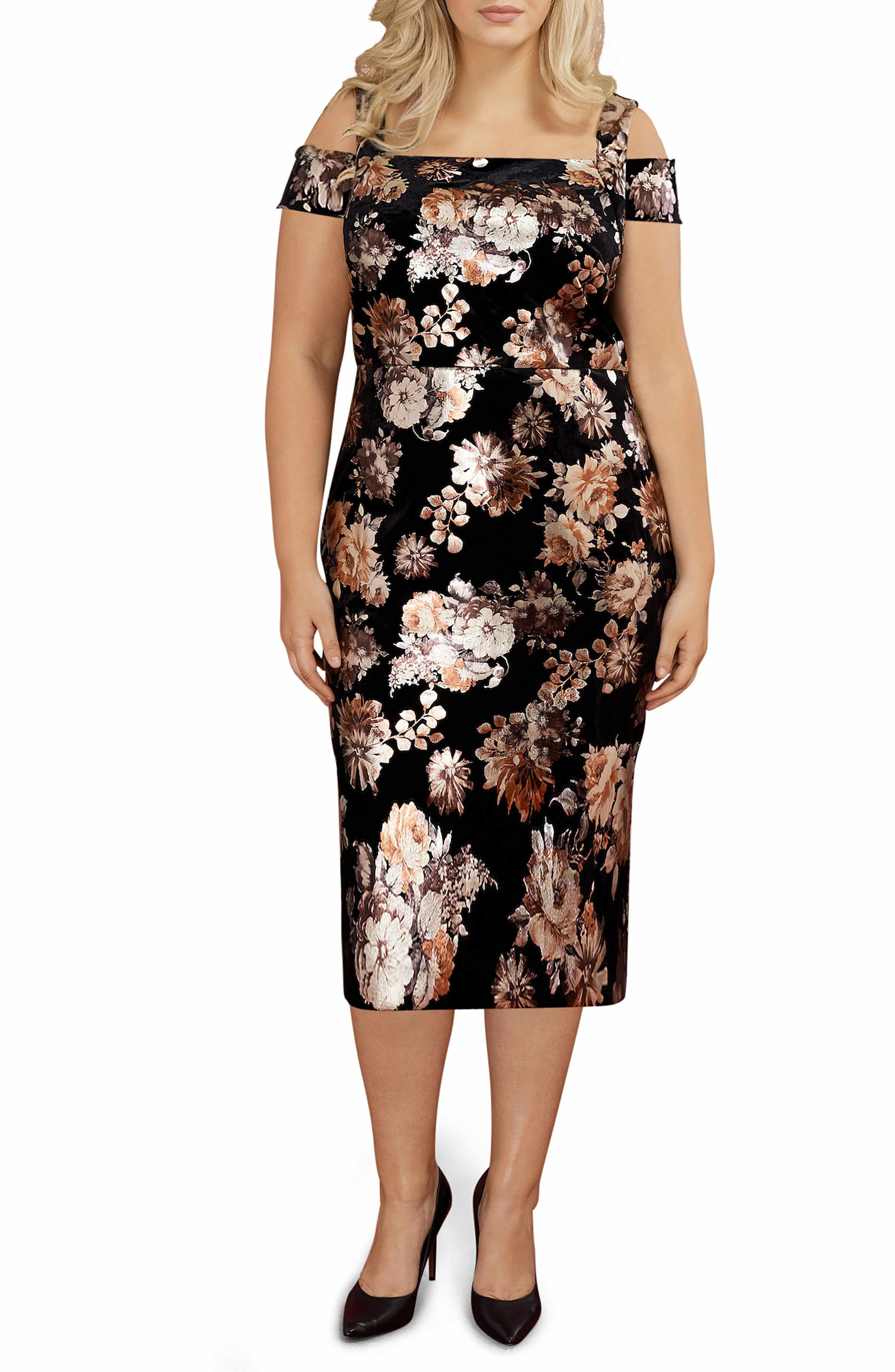 Main Image Eci Cold Shoulder Foil Print Velvet Midi Dress Plus